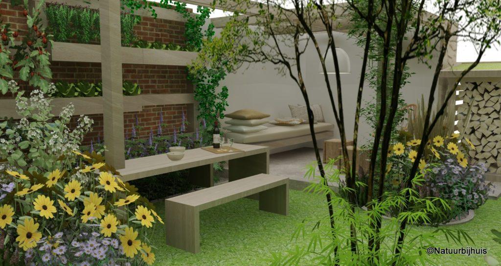 Voorbeeld natuur bij huis 3D tuinontwerp natuurlijke Tuin afdak loungehoek
